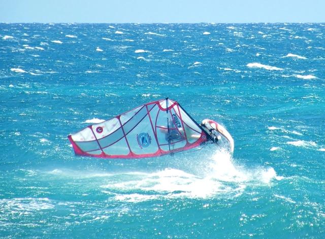 The author windsurfing