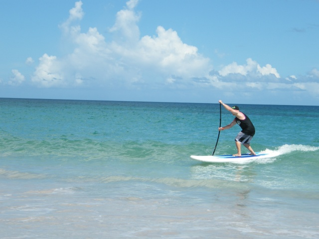 Tez playing in the Grande Anse shorebreak