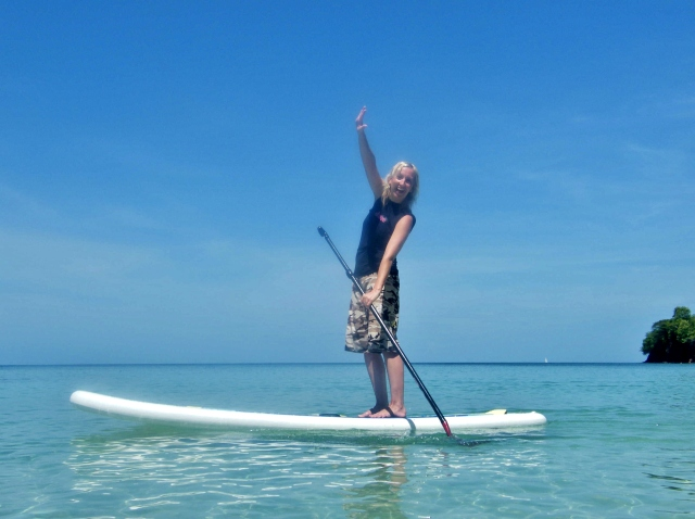 Paddling in paradise - Fi Plavenieks stand up paddle boarding in Grenada