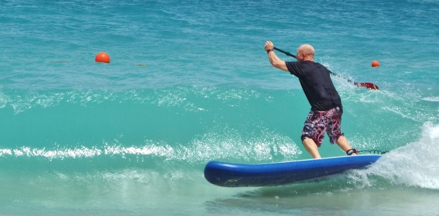 Tez SUP surfing in Grenada