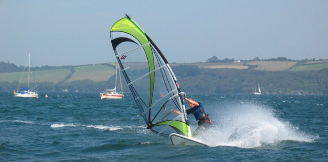 Loe Beach windsurfing