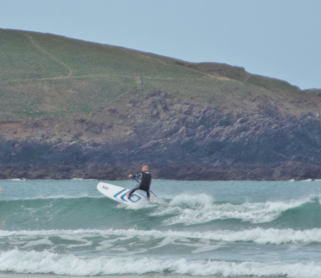 Low tide Crantock SUP