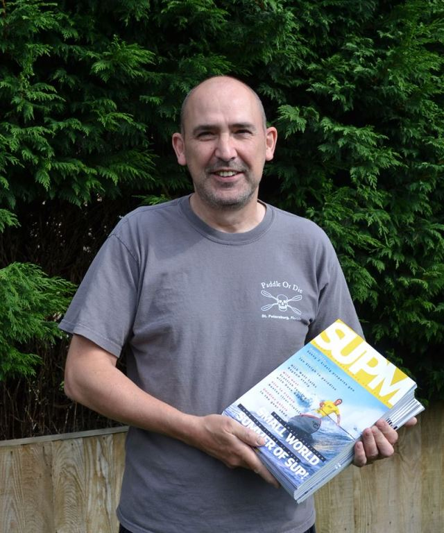 Mr Tranter with issue two copies of SUP Mag UK